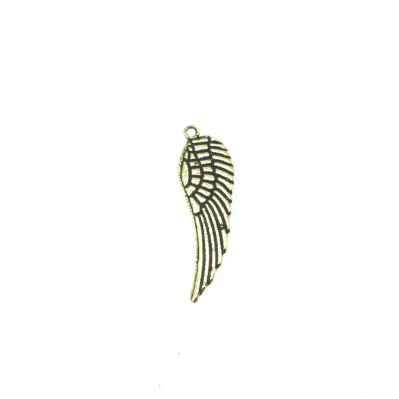 8mm x 22mm - Gold Plated Copper Detailed Wing Shaped Pendant Components (One Ring) - Sold in Packs of 10 (601-GD)