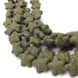 "Extra Small Starfish/Star Natural Green Lava Rock Beads - 15"" Strand (Approximately 21 Beads) - Measuring 20mm x 20mm - Volcanic Stone"