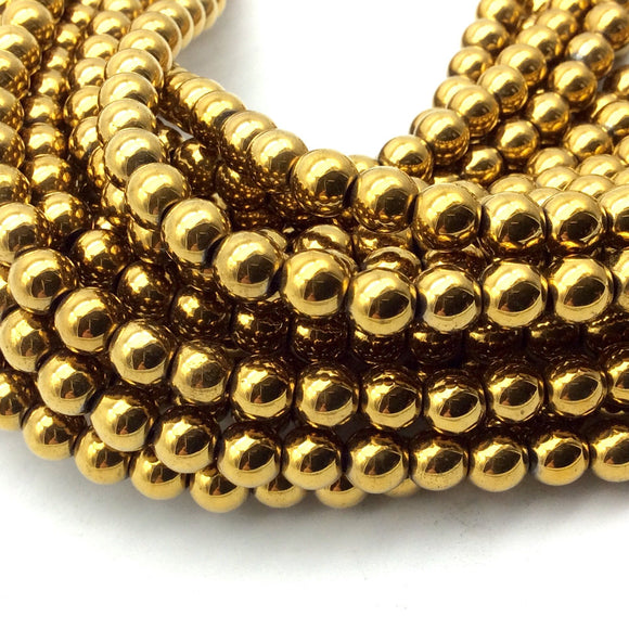 6mm Smooth Natural Metallic Gold Coated Hematite Round/Ball Shape Beads - Sold by 15