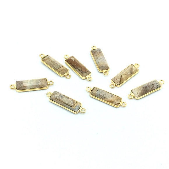 Gold Vermeil Faceted Cut Stone Rectangle Shaped Picture Jasper Bezel Connector- Measuring 5mm x 15mm - Sold Per Piece