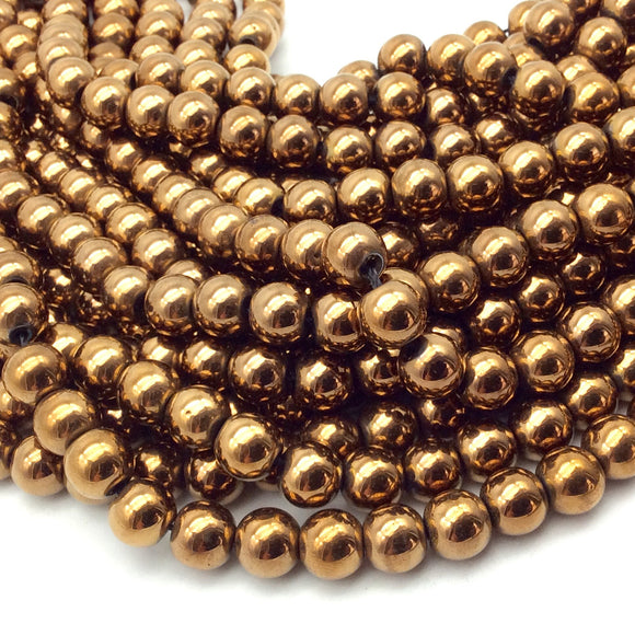 8mm Smooth Natural Metallic Bronze Coated Hematite Round/Ball Shape Beads - Sold by 16