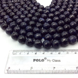 "12mm Faceted Manmade Blue Goldstone (Glass) Round/Ball Shaped Beads - Sold by 14.5"" Strands (Approximately 32  Beads) - Synthetic Gemstone"
