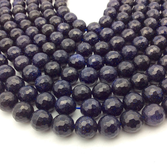 12mm Faceted Manmade Blue Goldstone (Glass) Round/Ball Shaped Beads - Sold by 14.5
