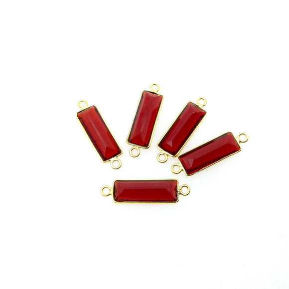 Gold Vermeil Faceted Cut Stone Rectangle Shaped Deep Red (Lab Created) Quartz Bezel Connector- Measuring 5mm x 15mm - Sold Per Piece