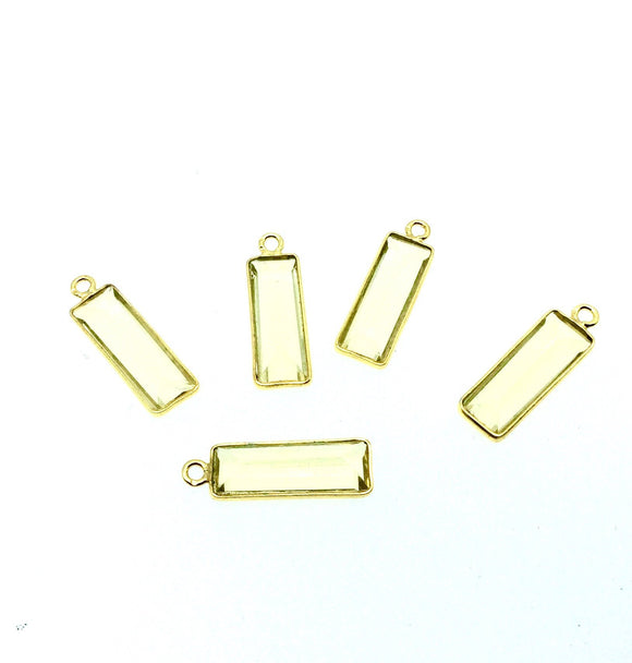 Gold Vermeil Faceted Cut Stone Rectangle Shaped Lemon (Lab Created) Quartz Bezel Pendant- Measuring 5mm x 15mm - Sold Per Piece