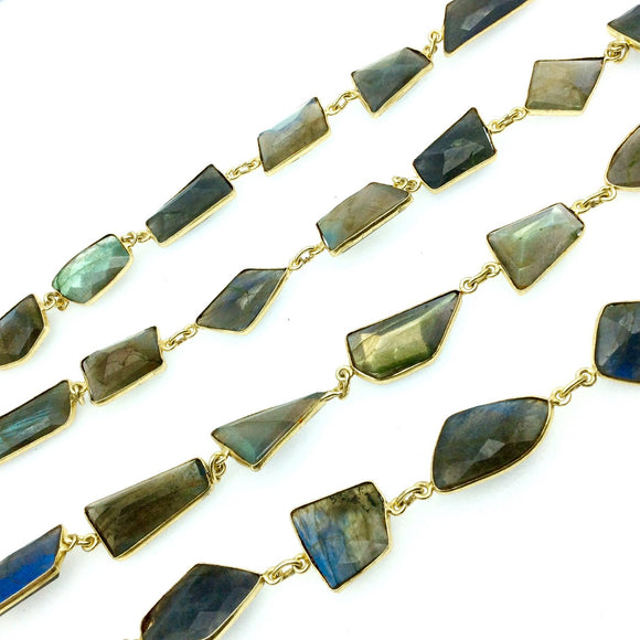 Gold Plated Copper Bezel Link Rosary Chain with Freeform Faceted Labradorite Bezels, measuring approx. 30mm long- Sold by 1' Cut Sections