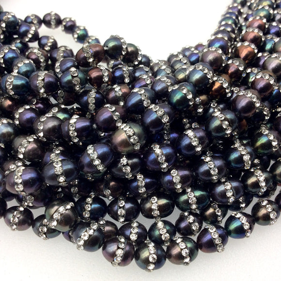 7mm x8mm Rhinestone Hemisphere Black Peacock Pearl Potato Shaped Beads - Sold in Packs of Six (6) - Natural Semi-Precious Loose Gemstone