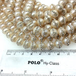 10mm Rhinestone Hemisphere Blush Pink Pearl Round/Ball Shaped Beads - Sold in Packs of Six (6) - Natural Semi-Precious Loose Gemstone