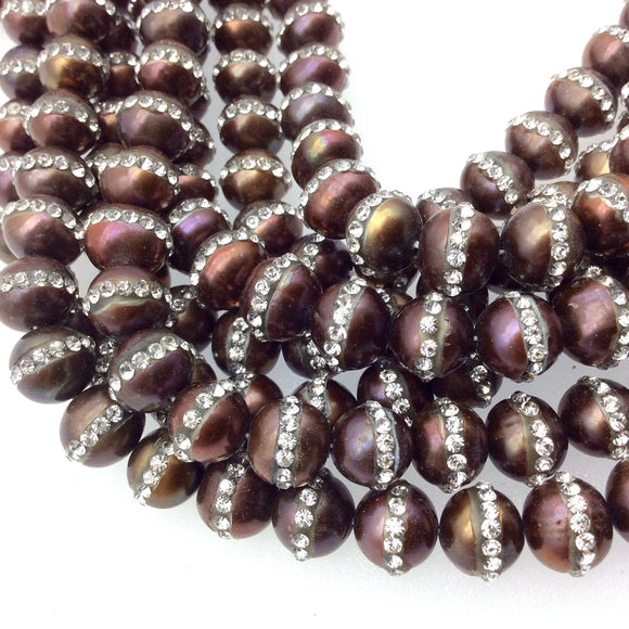 8mm Rhinestone Hemisphere Bronze Pearl Round Shaped Beads - Sold in Packs of Six (6) - Natural Semi-Precious Loose Gemstone
