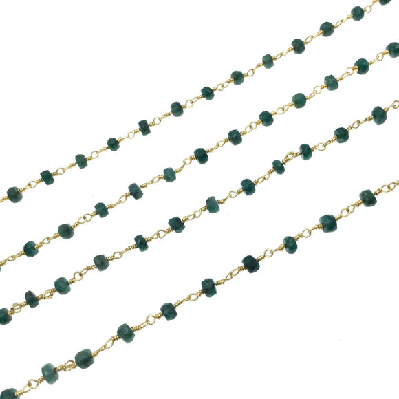 Gold Plated Copper Wrapped Rosary Chain with 3-4mm Faceted Natural Emerald  Rondelle Beads - Sold by 1' Cut Sections!