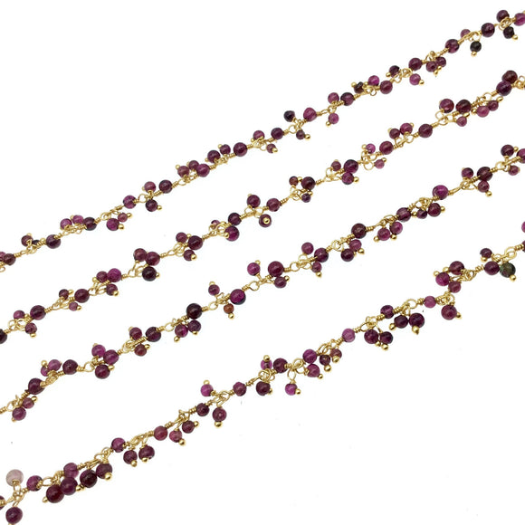 Gold Plated Copper Double Dangle Beaded Rosary Chain with 3-4mm Faceted Natural Garnet Rondelle Beads - Sold by 1' Cut Sections or in Bulk!