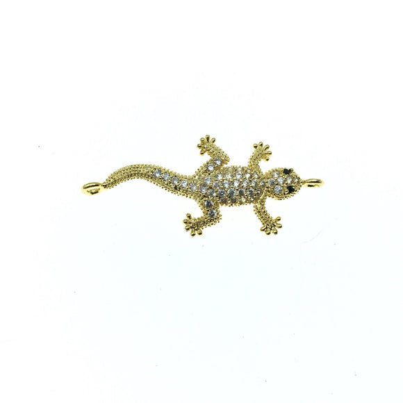 Gold Plated CZ Cubic Zirconia Lizard Shaped Copper Connector - Measures 30mm, Approx.  - Sold Individually, RANDOM