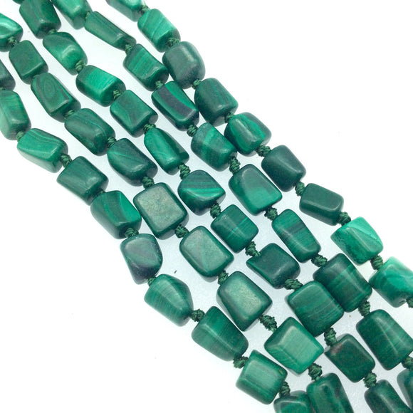 4-6mm x 8mm Natural Faceted Green Chrysocolla Nugget Beads - Sold by 15