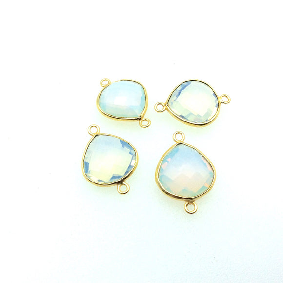 Gold Plated Faceted Opalite (Lab Created)  Heart/Teardrop Shaped Bezel Connector - Measuring 16mm x 16mm - Sold Individually