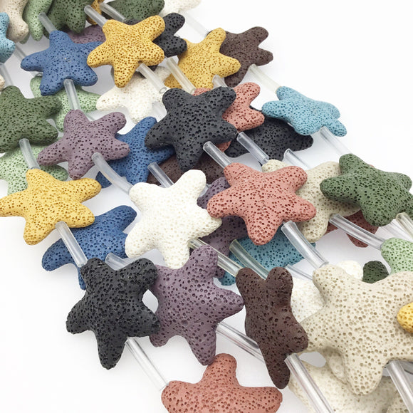 Mixed Strand of Large Starfish/Star Shaped Natural Lava Rock Beads -15