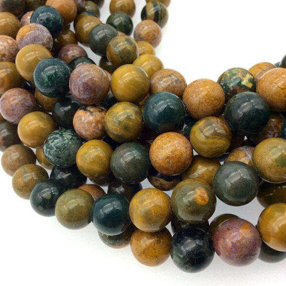 12mm Glossy Finish Natural Mixed Brown Picasso Jasper Round/Ball Shaped Beads with 1mm Holes - Sold by 15.5