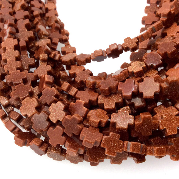 10mm Smooth Manmade Goldstone (Glass) Cross/Plus Shaped Beads with 1mm Holes - Sold by 14.5
