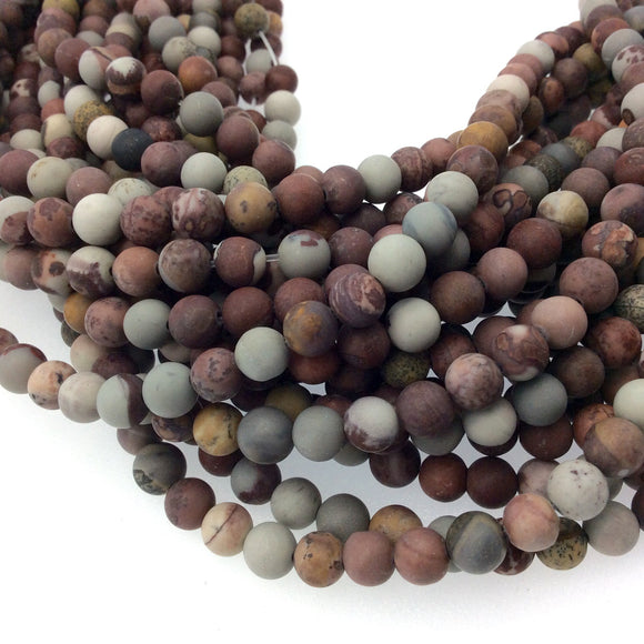8mm Matte Natural Owyhee Jasper Round/Ball Shaped Beads with 1mm Holes - Sold by 15.25