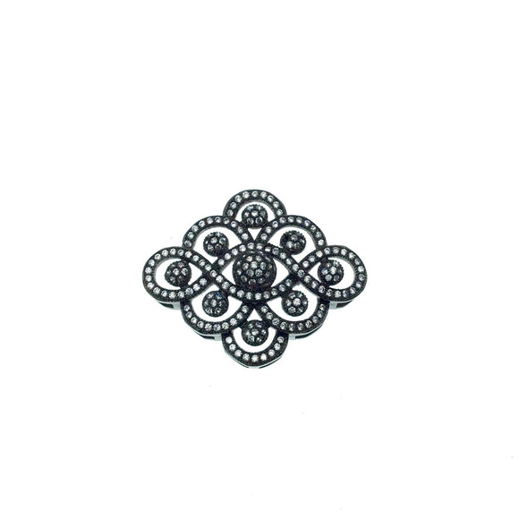 Gunmetal Plated White CZ Cubic Zirconia Inlaid Flat Fancy/Ornate Open Ribbon/Dot Shaped Copper Slider - Measuring 26mm x 30mm