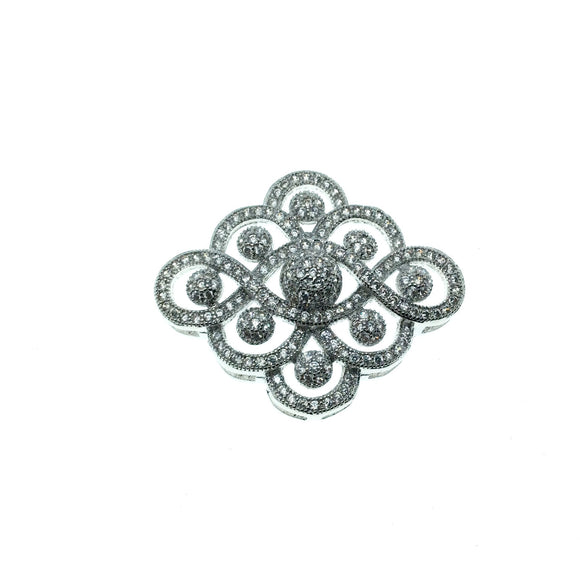 Silver Plated White CZ Cubic Zirconia Inlaid Flat Fancy/Ornate Open Ribbon/Dot Shaped Copper Slider - Measuring 26mm x 30mm