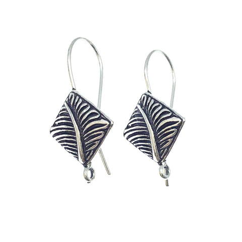 14mm x 15mm - Silver Plated Copper Kite Shape with Leaf Design- High Quality Earring Wire - Two Pairs Per Pack (Four Pieces Total)