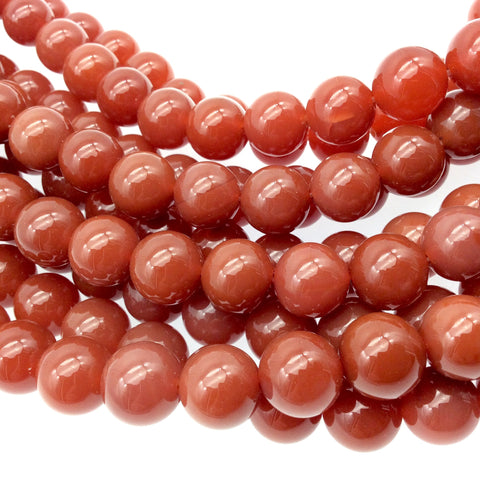 "12mm Smooth Natural Orange/Red Carnelian Round/Ball Shaped Beads with 1mm Holes - Sold by 15"" Strands (~ 33 Beads) - High Quality Gemstone"