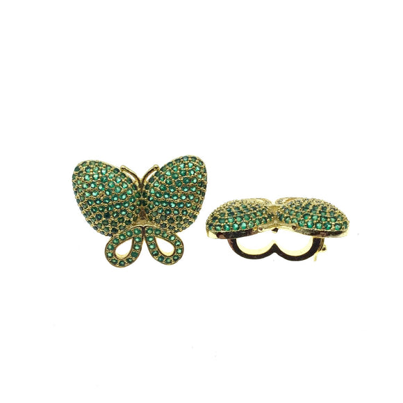 Gold Plated CZ Cubic Zirconia Inlaid Green Butterfly Bolo Slide Copper - Measures 23mm x 28mm, Approx. - Sold Individually, RANDOM