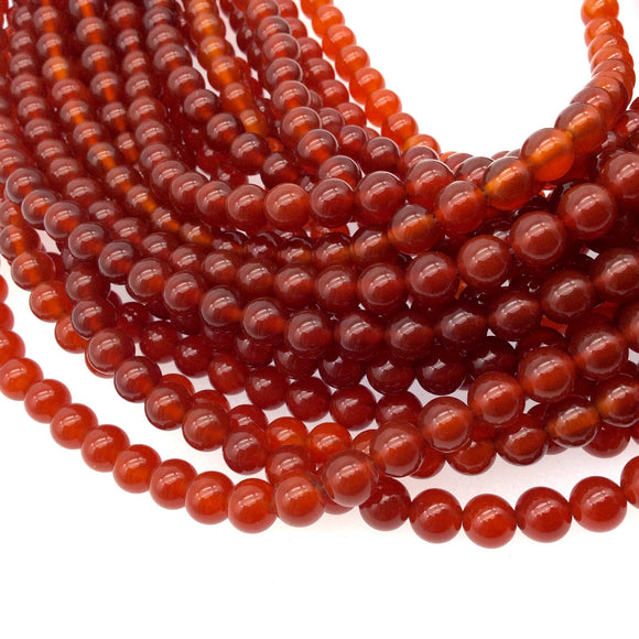 6mm Smooth Natural Orange/Red  Carnelian Round/Ball Shaped Beads with 1mm Holes - Sold by 15