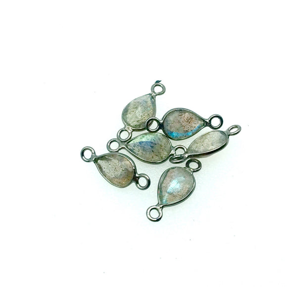 BULK LOT-Pack of Six (6) Gunmetal Sterling Silver Pointed/Cut Stone Faceted Teardrop Shaped Labradorite Bezel Connectors Measuring 5mm x 7mm