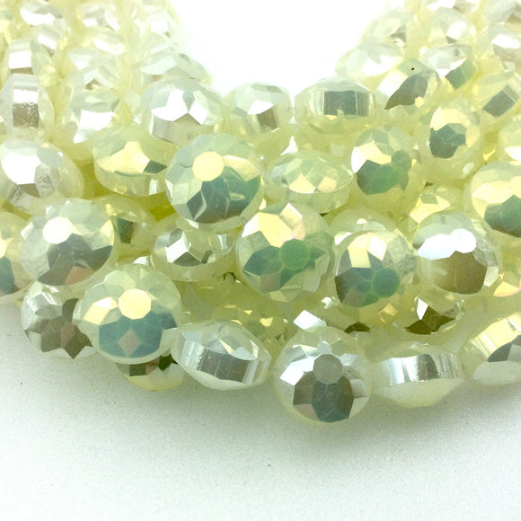 Chinese Crystal Beads | 14mm Glossy Finish Faceted Opaque Light Lemonade Yellow Round Coin Glass Beads