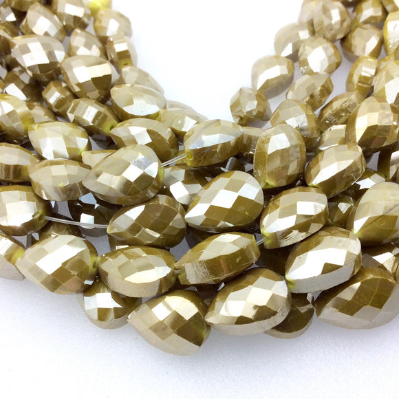 Chinese Crystal Beads | 10mm x 14mm Glossy Finish Faceted Golden Olive Green Teardrop Glass Beads