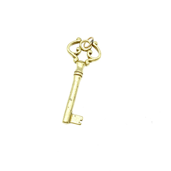 15mm x 40mm Antique Key Shaped Gold Plated Brass Component with 5mm Ring - Sold Individually