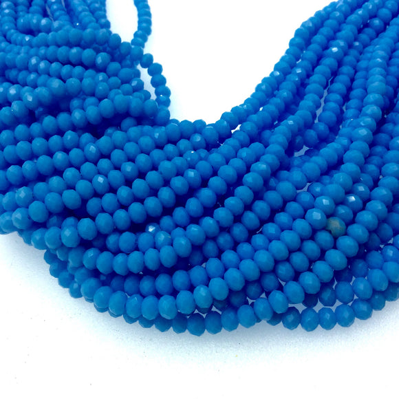 3mm x 4mm Faceted Opaque Sky Blue Glass Crystal Rondelle Beads - 16.75