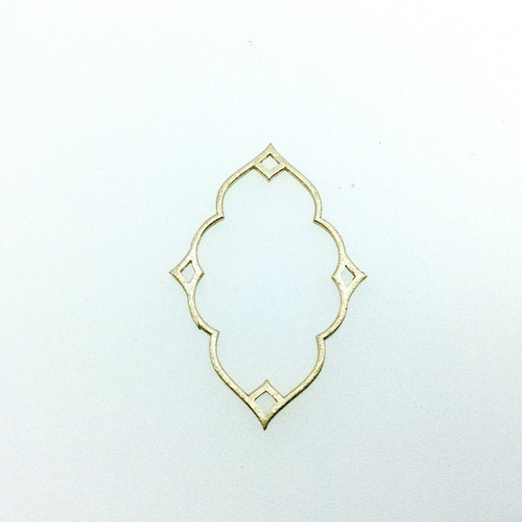33mm x 50mm Gold Brushed Finish Thin Keyhole Shaped Plated Copper Components With Points - Sold in Bulk Packs of 10 Pieces - (609-GD)