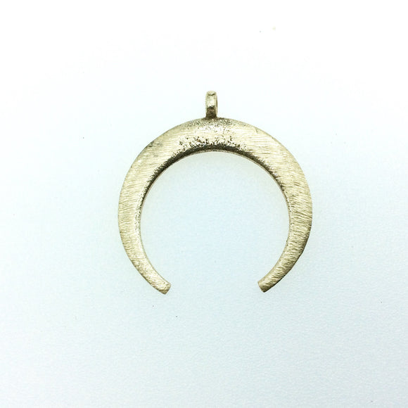 30mm x 33mm, 1.5mm Thick Gold Plated Copper Thick Crescent Shaped Pendant Components (One Ring) - Sold Individually