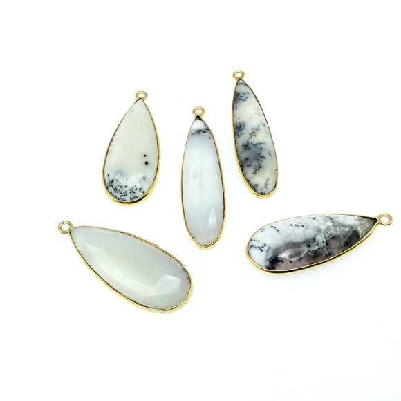 Jeweler's Lot OOAK Gold Plated Natural Dendritic Opal Faceted Assorted Shape Copper Bezel Pendants