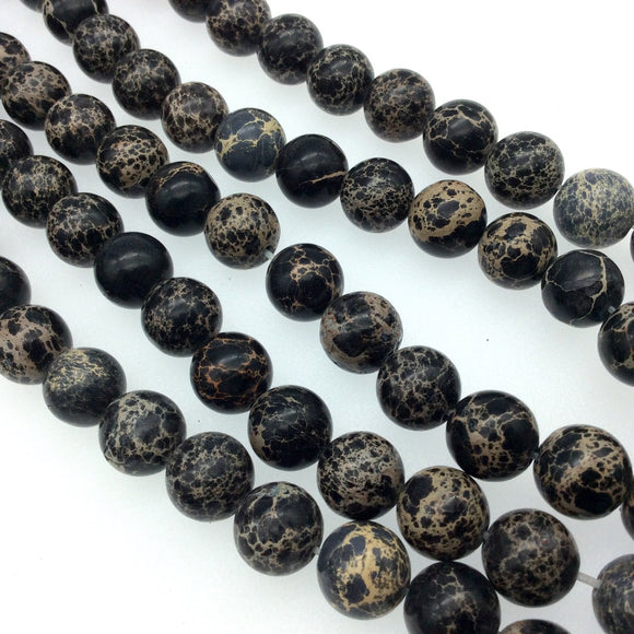 12mm Smooth Natural Black/Beige Sea Sediment Jasper Round/Ball Shape Beads -Sold by 15