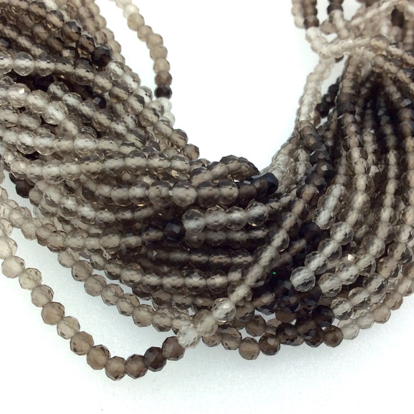 Holiday Special! 2.5mm x 2.5mm Faceted Natural Light Smoky Quartz Round Shaped Beads - 13