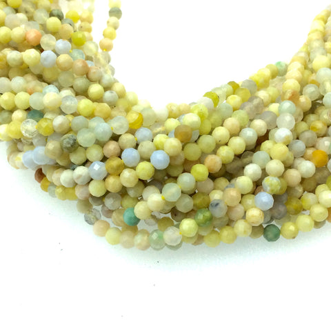 "Holiday Special! 2-3mm x 2-3mm Faceted Natural Mixed Yellow Opal Rondelle Shaped Beads - 13"" Strand (~ 125 Beads)"