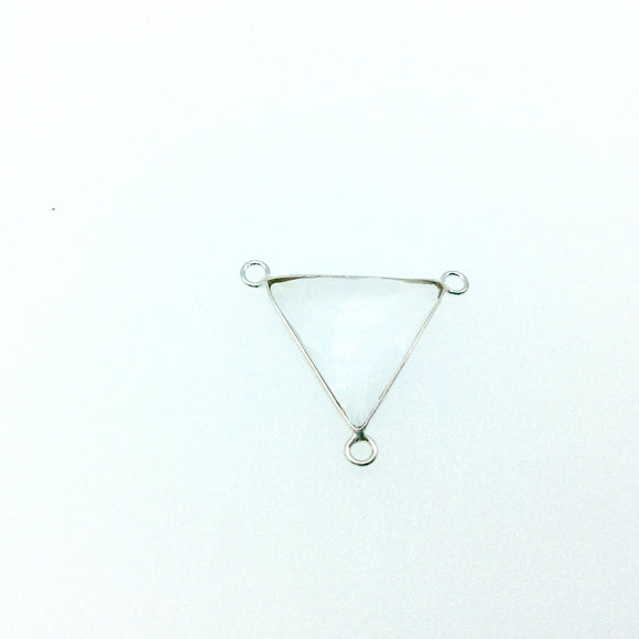 Silver Plated Faceted Clear Hydro (Lab Created) Quartz Triangle Shaped Bezel Pendant - Connector Measuring 20mm x 20mm - Sold Individually