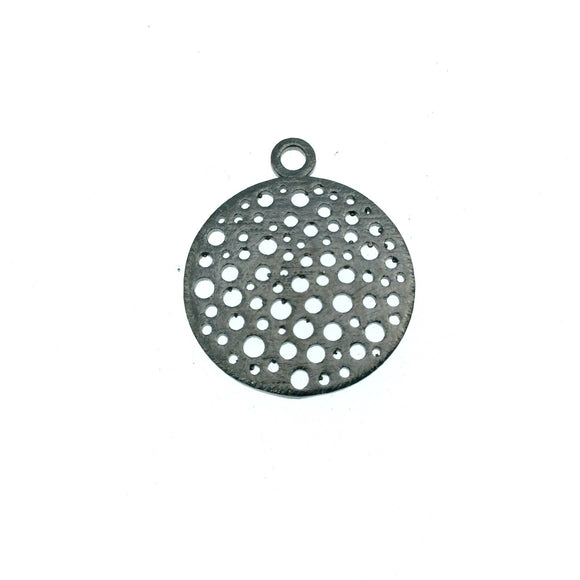 Small Sized Gunmetal Plated Copper Dot-Filled Cutout Circle Shaped Components - Measuring 21mm x 21mm - Sold in Packs of 10 (338-GD)