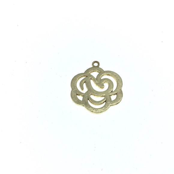 Small Sized Gold Plated Copper Open Fancy Rose Blossom Shaped Components - Measuring 23mm x 23mm - Sold in Packs of 10
