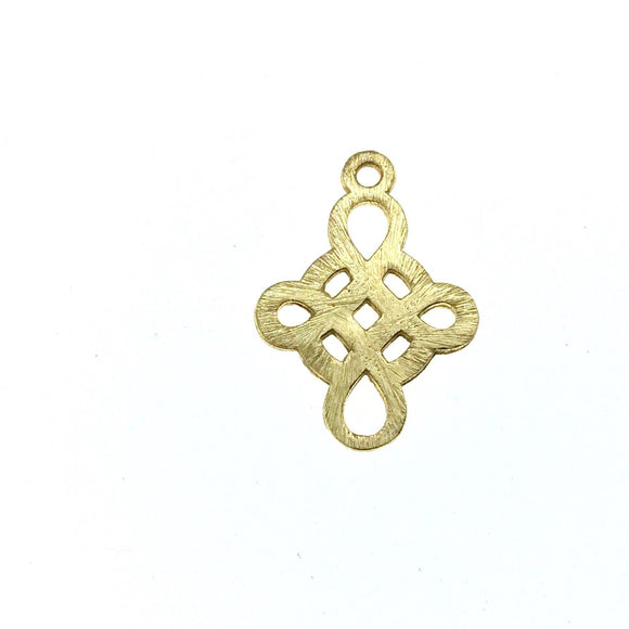 Beadlanta Rich Gold Finish - 15mm x 19mm Open Knotted Celtic Cross Shaped Plated Copper Jewelry Components  - Sold in Packs of 2