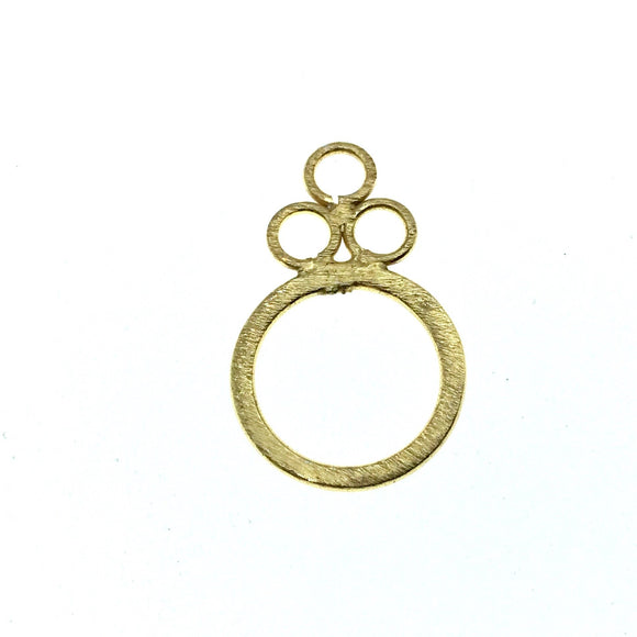 Beadlanta Rich Gold Finish-  17mm x 27mm Open Triple Rings/Bubbles Shaped Plated Copper Jewelry Components - Sold in Packs of 2