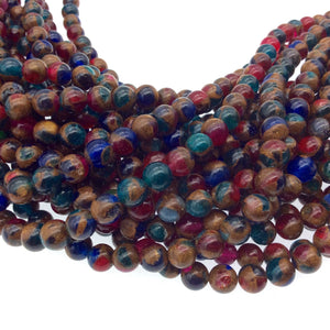 "6mm Natural Gold/Blue/Green/Red Mosaic Agate Smooth Round/Ball Shaped Beads W 1mm Holes - 15.5"" Strand (Approx. 66 Beads) - Quality Gemstone"