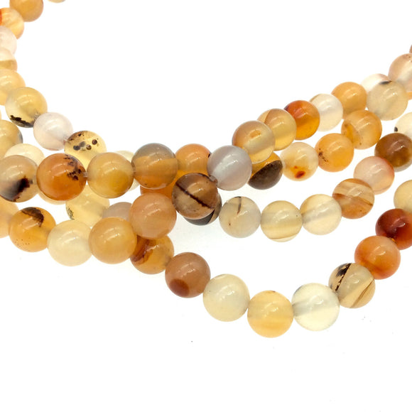 6mm Smooth Natural Mixed Pale Carnelian Round/Ball Shaped Beads with 1mm Holes - Sold by 15