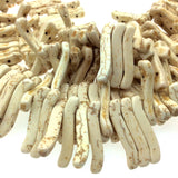 "Ivory/Beige Howlite Double-Drilled Wavy Stick Beads - 16.5"" Strand (~ 81 Beads) - Measuring 5mm x 32mm - Natural Semi-Precious Gemstone"