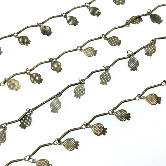 High Quality Bronze Spaced Dangle Chain - 6mm Strawberry Shaped Dangles W Deep Gold Colored Skinny Links - Sold By the Foot!