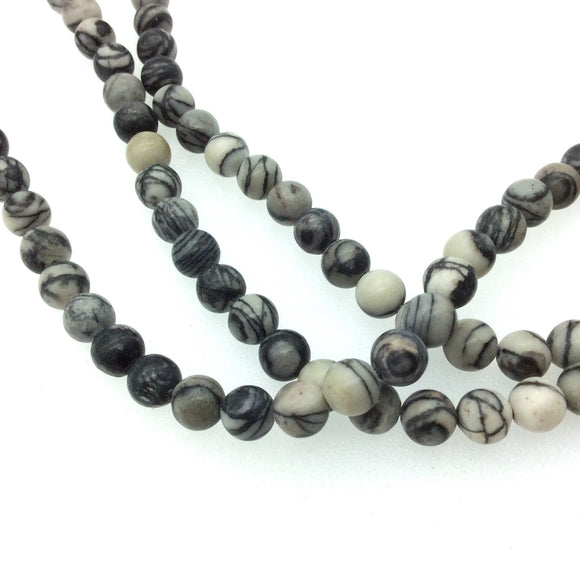 6mm Smooth Natural Gray Zebra Jasper Round/Ball Shaped Beads with 1mm Holes - Sold by 15.25