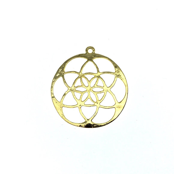 37mm x 37mm Gold Plated Copper Sacred Seed/Flower of Life Shaped Pendant Components - Sold individually, randomly chosen